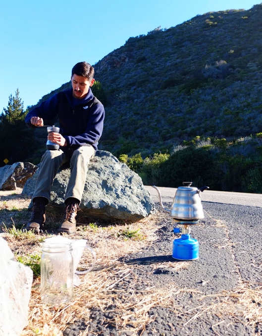 Fresh coffee, roadside? This guy had the right idea!